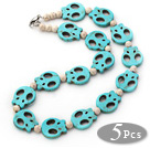 5 Pieces Dyed Blue Turquoise Skull and Howlite Necklaces with Lobster Clasp