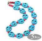 Wholesale 5 Pieces Dyed Lake Blue Turquoise Skull and Pink Turquoise Necklaces with Lobster Clasp
