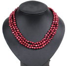 Fashion Style 3 Strand Natural Wine Red Freshwater Pearl Necklace