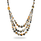 Assorted Three Layer Multi Color Painted Stone Necklace