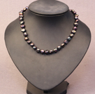 Simple Trendy Style Natural Black Potato Pearl Necklace