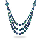 Assorted Three Layer Blue Green Color Painted Stone Necklace