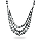 Wholesale Assorted Three Layer Black and White Color Stripe Stone Necklace