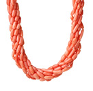 8 Strands Orange Pink Color Barrel Shape Coral Necklaces with Moonlight Clasp