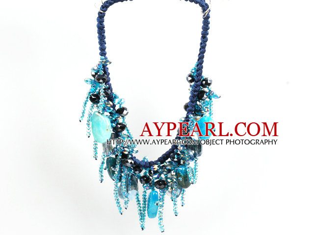 Sparkly Bib Shape Blue Series Crystal Agate Statement Party Necklace With Blue Thread Woven Drawstring Chain