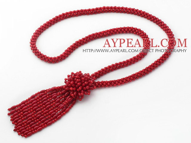 2013 Summer New Design Red Coral Y Shape Tassel Necklace with Coral Flower