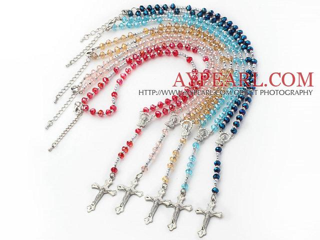 5 Pieces Manmade Crystal Y Shpae Necklace with Cross Pendant ( Random Color)