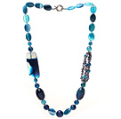 Wholesale Dark Blue Series Assorted Multi Shape Blue Agate and Black Pearl Necklace