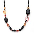 Wholesale Black Series Assorted Multi Shape Black Agate and Carnelian Necklace
