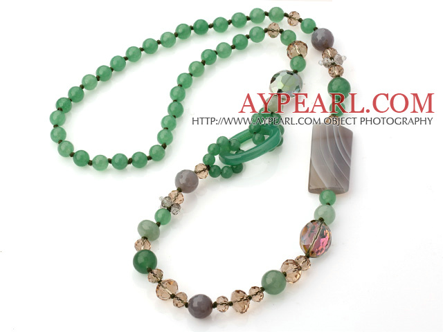 Green Series Assorted Multi Shape Aventurine and Crystal Necklace