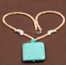 Fashion Nautral Pink Freshwater Pearl Big Square Turquoise Pendant Necklace