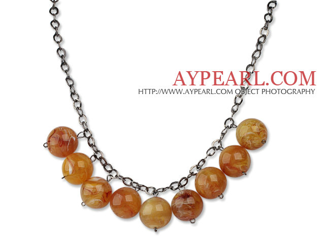 Simple Design 18mm Round Amber Acrylic Beads Necklace with Black Metal Chain
