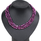Fashion Style 3 Strand Natural Purple Freshwater Pearl Necklace