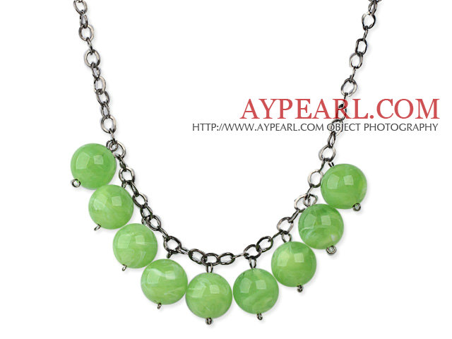 Simple Design 18mm Round Apple Green Acrylic Beads Necklace with Black Metal Chain