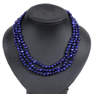 Fashion Style 3 Strand Natural Deep Blue Freshwater Pearl Necklace