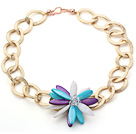 Wholesale 2013 Summer New Design Multi Color Shell Flower Necklace with Golden Color Metal Chain