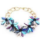 2013 Summer New Design Multi Color Shell Flower and Black Crystal Necklace with Golden Color Metal Chain