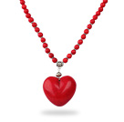 Classic Design Round Dyed Red Turquoise Necklace with Heart Shape Pendant