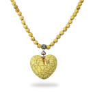 Classic Design Round Dyed Yellow Turquoise Necklace with Heart Shape Pendant