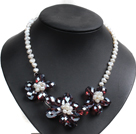 Gorgeous Party Style Natural White Freshwater Pearl Red Brown Crystal Flower Bib Necklace