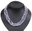 Fashion Style 3 Strand Natural Lavender Freshwater Pearl Necklace