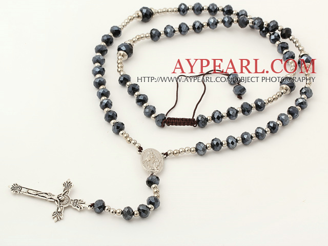 Long Style Hematite Color Manmade Crystal Y Shape Extedable Necklace with Cross Pendant