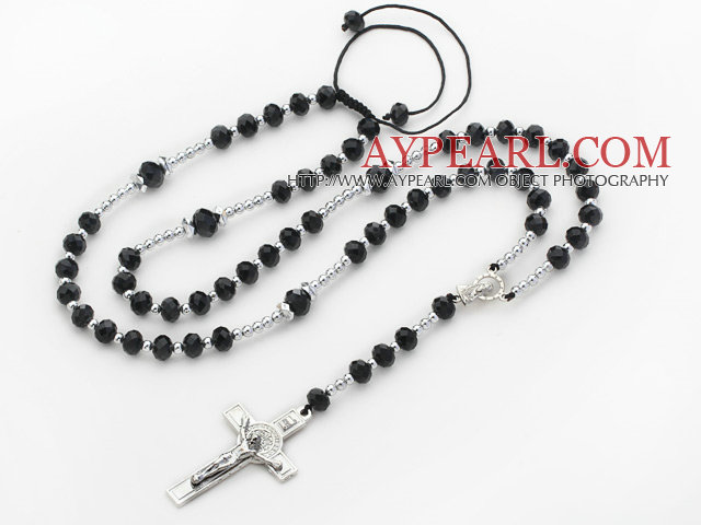 Long Style Black Color Manmade Crystal Y Shape Extedable Necklace with Cross Pendant