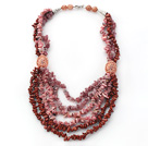 Wholesale Pink Series Multi Strands Pink Opal and Strawberry Quartz Chips Necklace