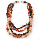 Brown and Orange Series Multi Strands Tiger Eye and Agate Necklace