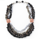 Black Series Multi Strands Flash Stone and Smoky Quartz Chips Necklace