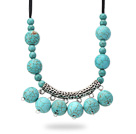 Wholesale New Design Burst Pattern Turquoise Necklace with Tibet Silver Tube Accessory