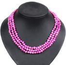 Fashion Style 3 Strand Natural Rose Red Freshwater Pearl Necklace