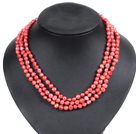 Fashion Style 3 Strand Natural Red Freshwater Pearl Necklace