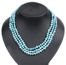Fashion Style 3 Strand Natural Light Blue Freshwater Pearl Necklace