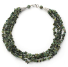Wholesale Multi Strands Green Tourmaline Chips Necklace
