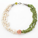 Wholesale White and Olive Green Series Multi Strands White Shell and Olive Chips Necklace