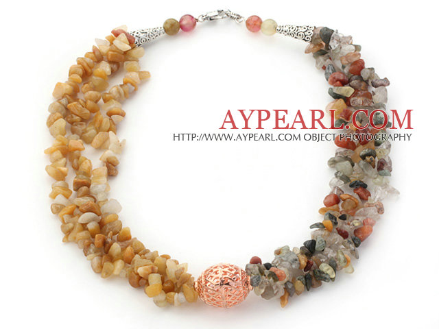 Multi Strands Yellow Jade and Multi Color Rutilated Quartz Chips Necklace
