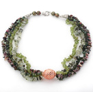 Wholesale Green Series Multi Strands Tourmaline and Olive and Prehnite Chips Necklace