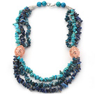 Blue Series Multi Strands Natural Kyanite and Lapis and Turquoise Necklace