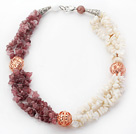 Wholesale White and Pink Series Natural White Shell and Strawberry Quartz Chips Necklace