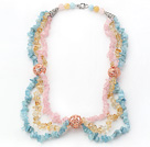 Wholesale Multi Color Multi Strands Aguamarine and Citrine and Rose Quartz Chips Necklace