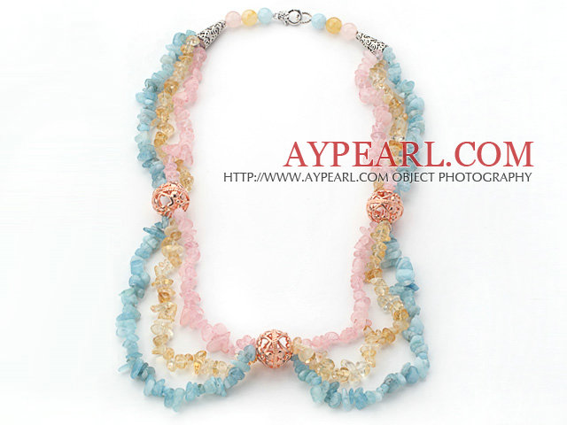 Multi Color Multi Strands Aguamarine and Citrine and Rose Quartz Chips Necklace