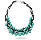 Wholesale 2013 Summer New Design Round Green Turquoise Woven Leather Necklace with Black and White Leather