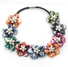 Assorted Multi Color Shell Flower and White Freshwater Pearl Leather Necklace