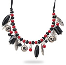 Wholesale Assorted Black Agate and Red Coral Charm Necklace with Black Thread