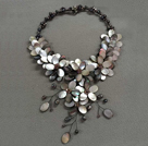 Simple Style White and Gray Crystal and Freshwater Pearl Pendant Necklace with Dark Brown Leather