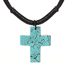 Wholesale Simple Design Cross Shape Green Turquoise Pendant Leather Necklace with Black Leather