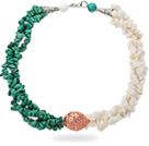 Wholesale Assorted Multi Strands White Shell and Green Turquoise Chips Necklace