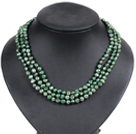 Fashion Style 3 Strand Natural Grass Green Freshwater Pearl Necklace