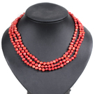 Fashion Style 3 Strand Natural Bright Red Freshwater Pearl Necklace